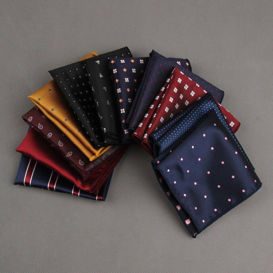 Pañuelo para hombre, pañuelos de rayas a lunares, pañuelo de poliéster impreso para fiesta de boda, pañuelo de bolsillo para negocios, toalla cuadrada para el pecho 23*23CM