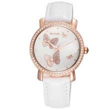 WEIQIN robe montre en or Rose montre à Quartz de luxe cadran papillon PU cuir bracelets de montre de mode femme montre avec strass 40004