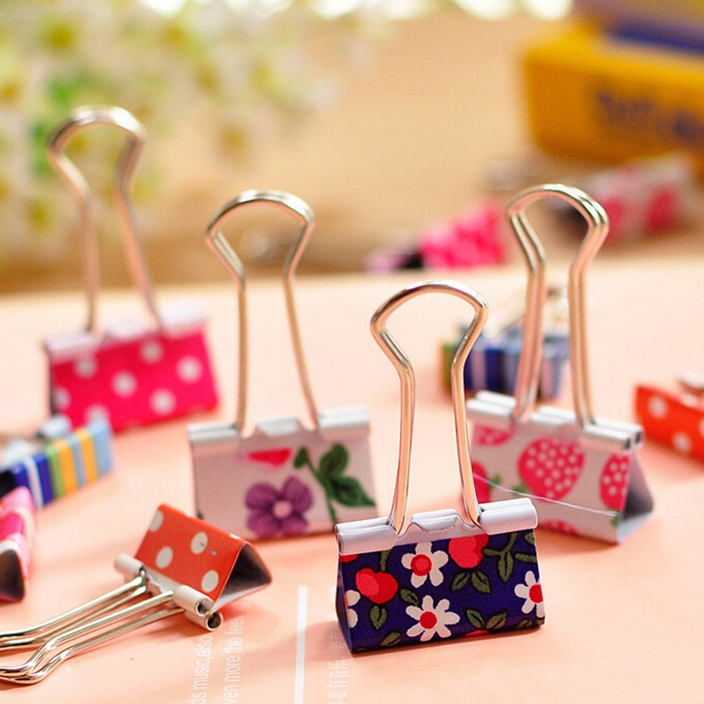 6 Pcs/lot Printed Metal Binder Clips Paper Clip Clamp Office School Binding Supplies Color Random