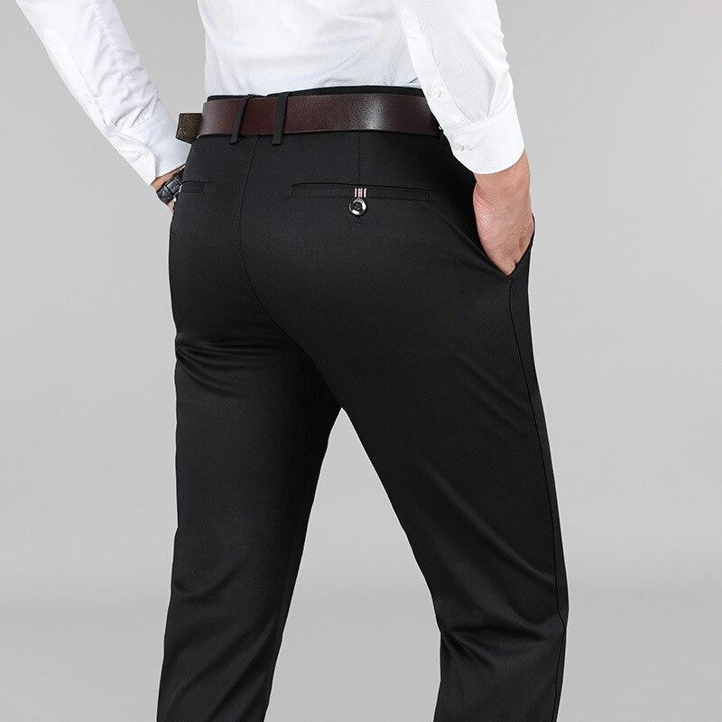 Однотонные свободные прямые мужские повседневные брюки, длинные брюки с высокой талией, мужские брюки из искусственного хлопка