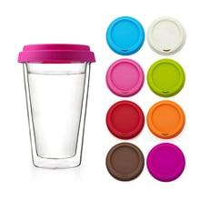Tazas de café borosilicato resistentes al calor de 10 onzas vasos de café de doble pared con cubierta de silicona de diferentes colores