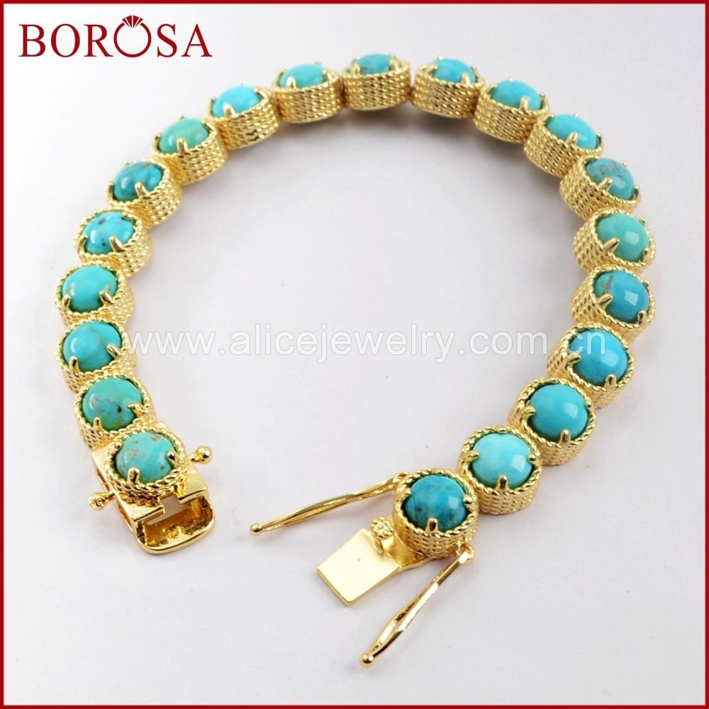 BOROSA 1/2PCS New Arrival Gold Color Round Twenty-Stone Natural Turquoises Bracelet Natural Blue Stone Bangle Jewelry ZG0338