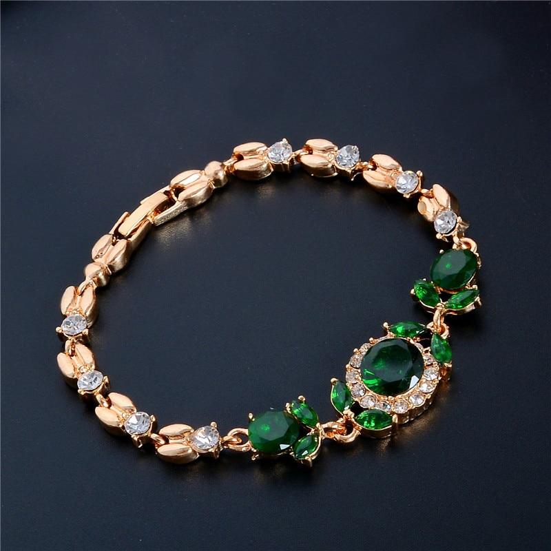 SHUANGR Fashion Gold Color Clear White Austrian Crystal Green Rhinestone Bracelets &Bangles For Women Girl Gift pulseira masculi
