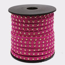 Cordón de gamuza Rosa caliente de 20Yds, cordón de imitación de microfibra, gamuza con tachuelas de oro, cordón remachado de oro, 5mm x 2mm, pulsera collar fabricación de joyas
