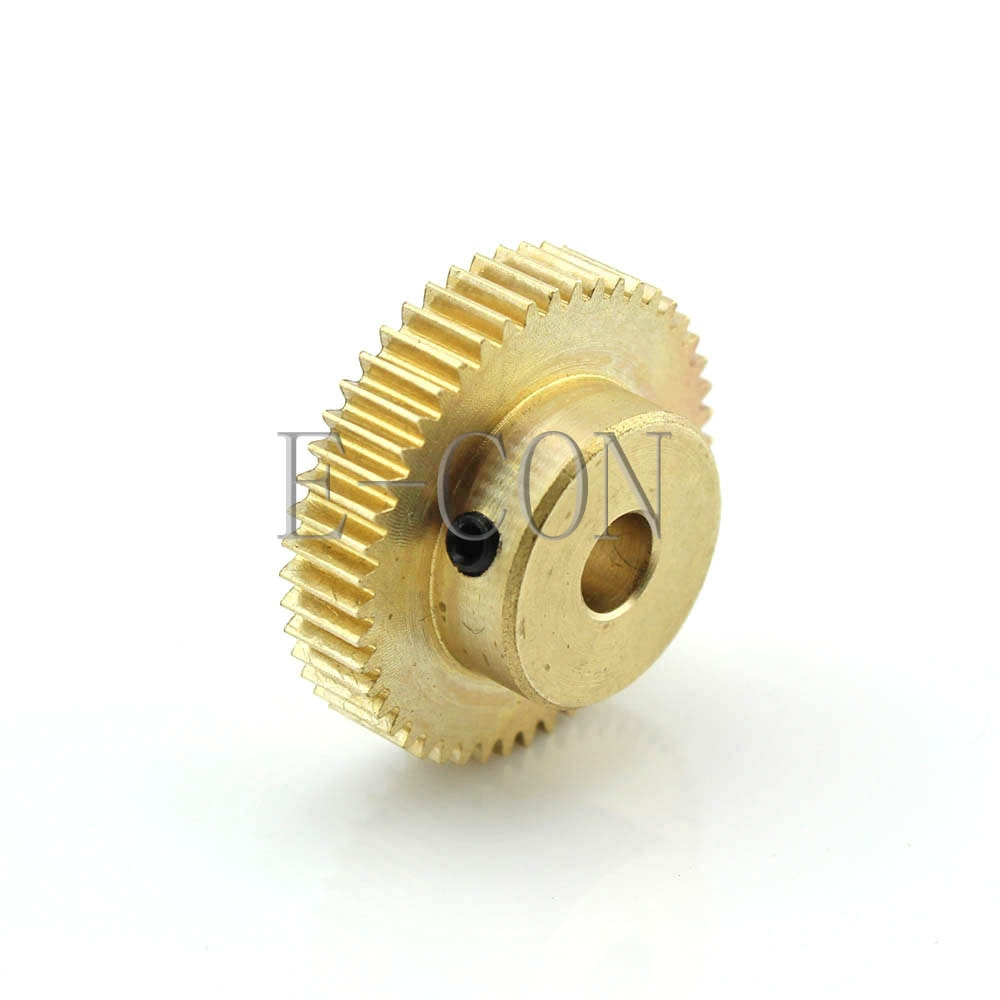 1 Uds 0,5 M 45 dientes 3mm/4mm/5mm/6mm/6,35mm/7mm/8mm/9mm/10mm/11mm/12mm de diámetro, latón rueda de engranaje del Motor con tornillo superior