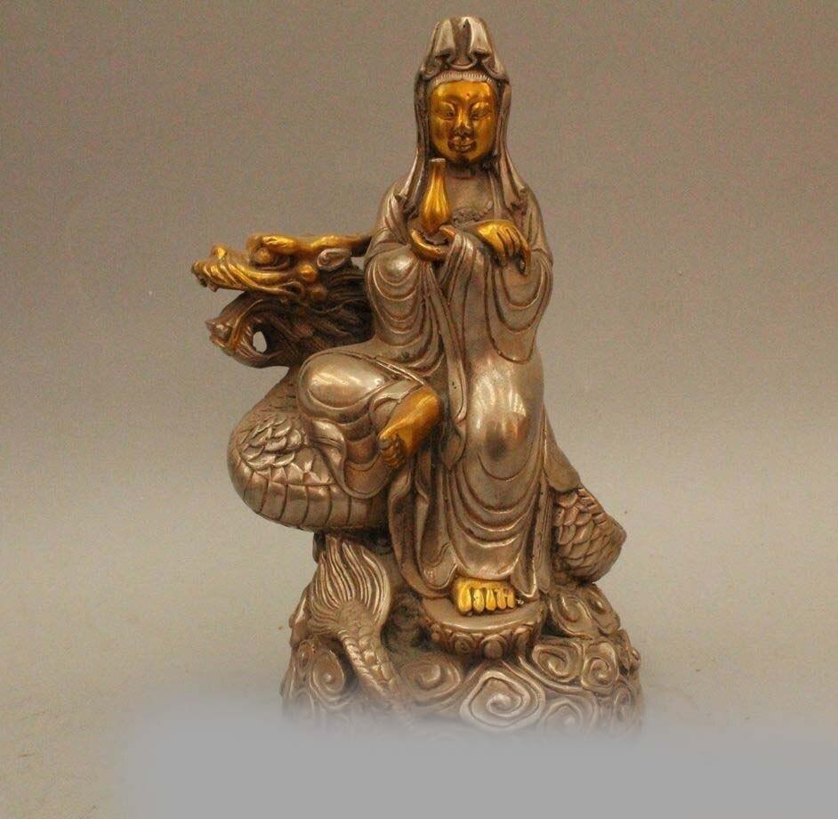 "8 ""budismo chinês prata gild assento dragão kwan-yin boddhisattva estátua"