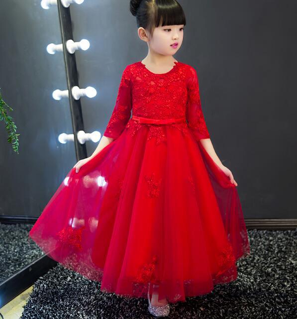 Vestido de niña, disfraz de princesa, vestidos de Navidad de manga larga de marca 2017, ropa para niños, vestido de niña con flor rosa