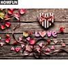 """HOMFUN Completo Quadrado/Rodada Broca 5D DIY Pintura Diamante """"amor e flor"""" 5D 3D Bordado Ponto Cruz home Decor A00110"""