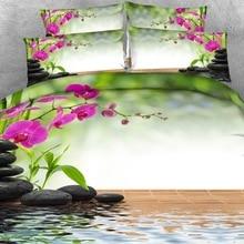 Ensemble de draps de lit 3d en lin Royal   4 pièces par ensemble, magnifique style Spa, orchidée et bambou, couverture de lit