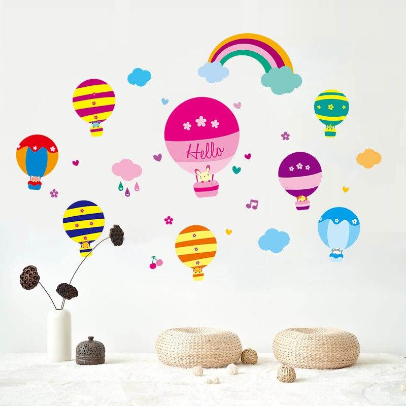 Globo de aire de arco iris novedoso de dibujos animados, pegatina de pared para habitación de niños, dormitorio de niños, pegatinas de fondo hazlo-tú-mismo, pegatinas para decoración del hogar