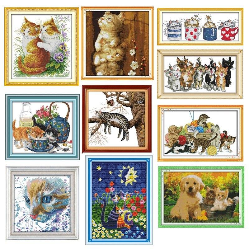 Kit de points de croix pour chats   Ensemble de points de croix brodés DMC broderie de croix, kit de motifs chinois bricolage 14CT & 11CT