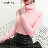 2021 autumn winter turtleneck pullovers pink sweater knit elasticity long sleeve vintage sweater feminino solid color sweaters