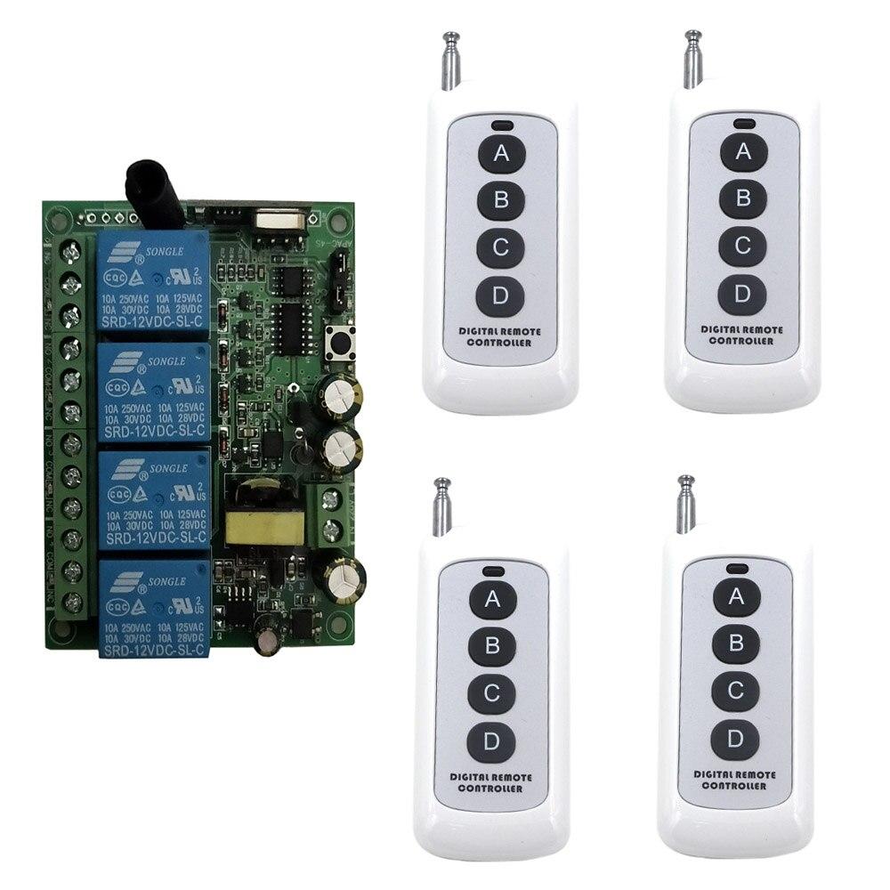 AC 220V 4CH 4 CH sistema conmutador de control remoto inalámbrico interruptor de luz módulo de relé receptor de Radio transmisor 315/433Mhz