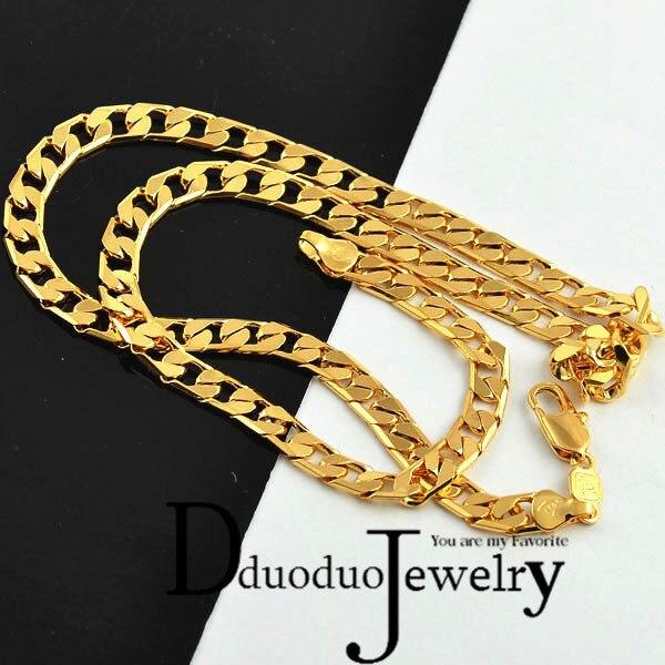 Regalo de joyería de boda de moda de cadena de collar de Color dorado para hombres reales