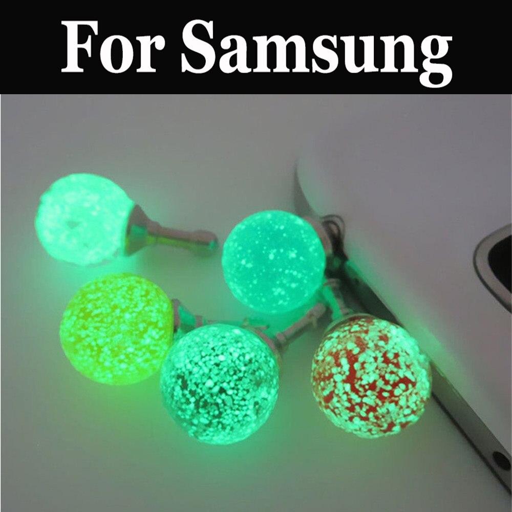 Puerto de auriculares de luz nocturna luminosa con enchufe antipolvo para Samsung Galaxy C7 Pro J2 J2 Core J2 Prime J3 J5 J6 J7 J8 Plus Prime Neo