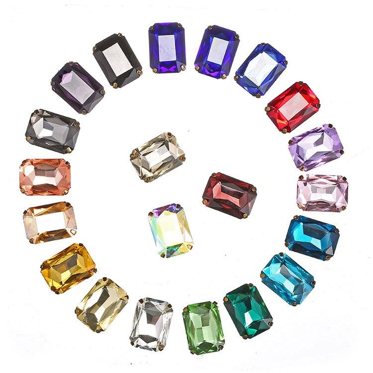 Золотое основание 10х14 мм 13х18 мм, пришивное восьмиугольное стекло с плоским основанием, пришивное на коготь, стразы, аксессуары для одежды «с...