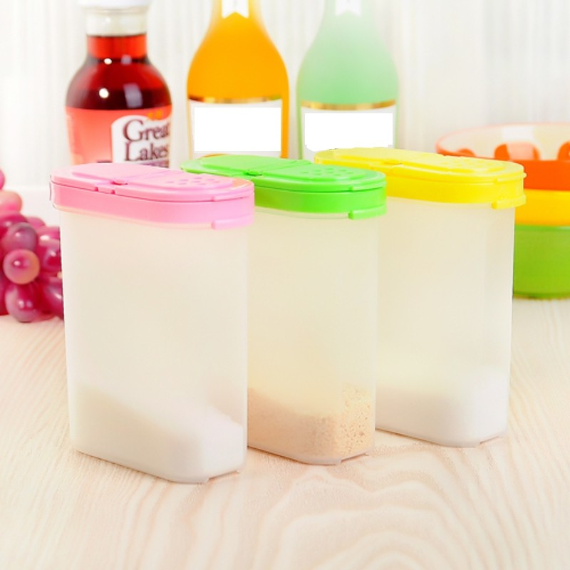 3 Cor 250 ml Caixas de Comida De Plástico Recipiente Tempero Cozinha Tempero Jar Tampa Dupla Cereal Feijão Condimento Garrafa Recipiente De Armazenamento