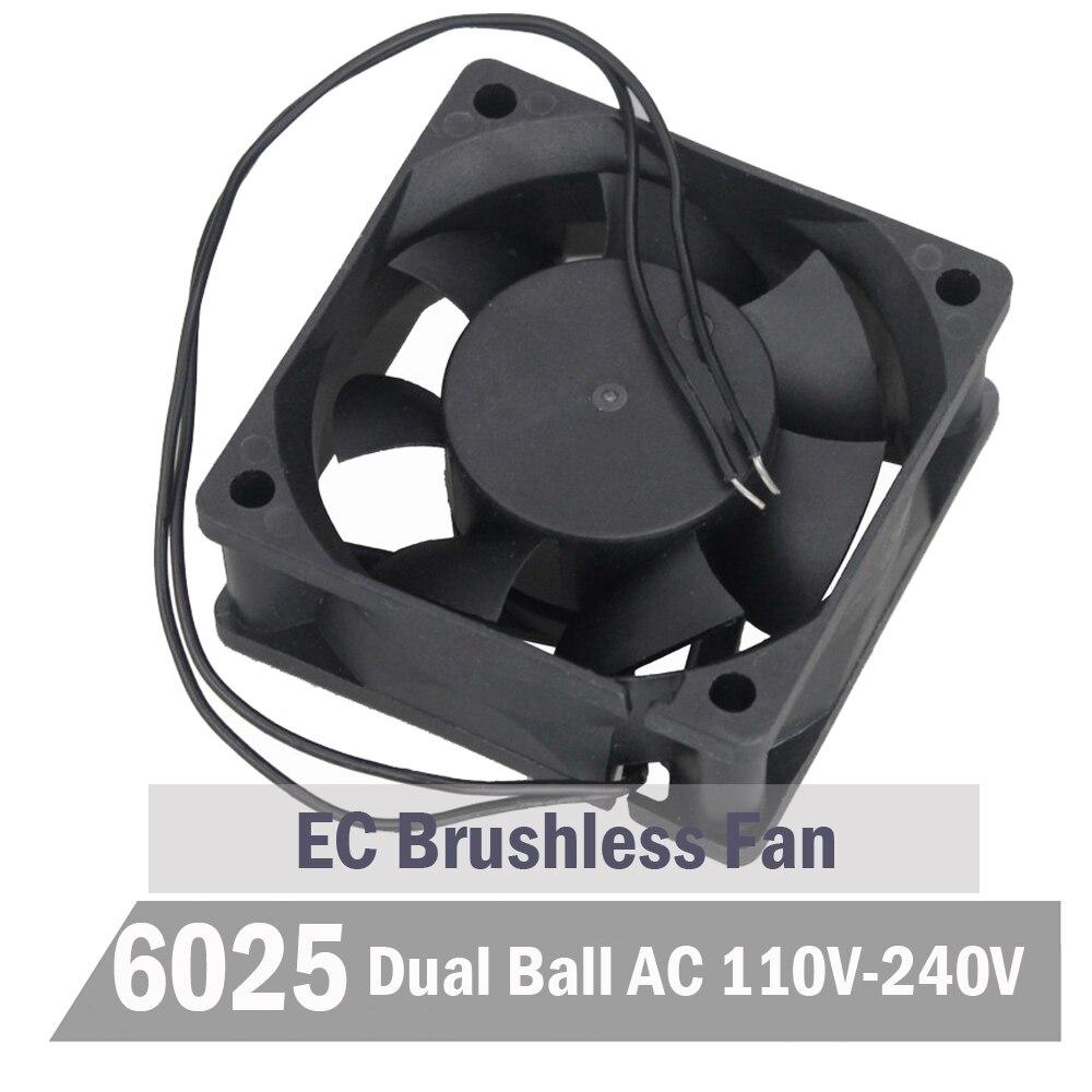 2 pièces Gdstime Ball 60mm EC ventilateur 60mm x 25mm AC 110 V 115 V 220 V 240 V ventilateur de refroidissement 6 CM sans brosse Aixal ventilateur de refroidissement