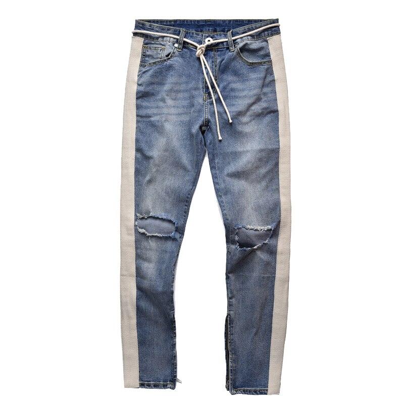 Abril momo 2020 homens rasgado buraco denim magro calças de brim hip pop calças moletom streetwear calças de lápis de homem hombre