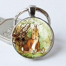 Llavero Benjamín Bunny cabujón dije con llavero conejito de Pascua cristal Beatrix Potter arte regalo pintura al óleo llavero con anilla