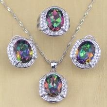 Mystique arc-en-ciel feu cubique zircon ensembles de bijoux femmes couleur argent bijoux boucles doreilles de mariage/pendentif/collier/anneaux T220