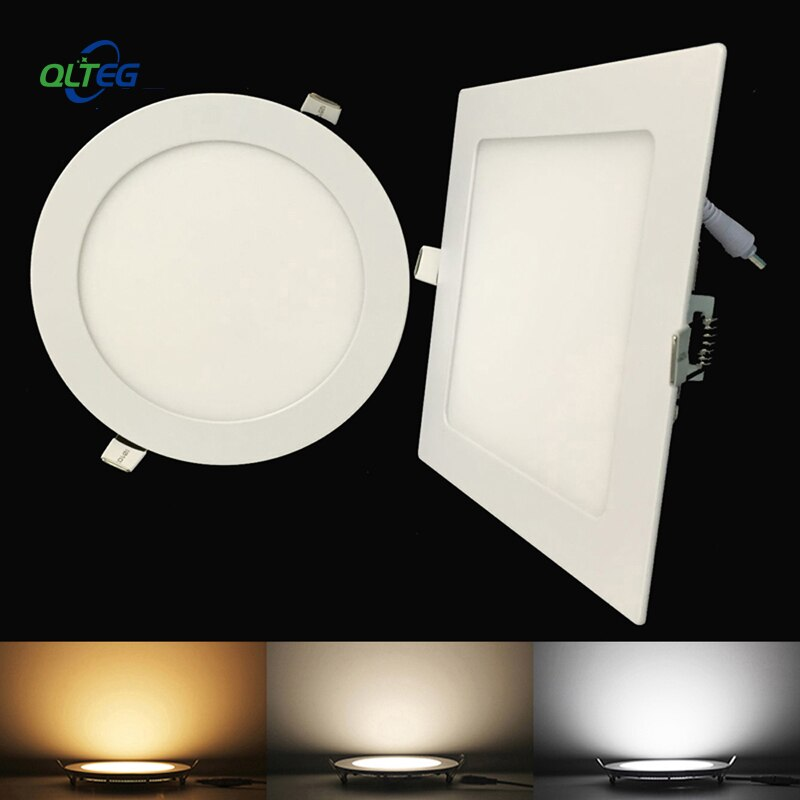 Ultra delgado Panel LED Downlight 3W 6W 9W 12W15W 18W redondo/cuadrado luz LED empotrable de techo AC85-265V Panel LED regulable lámparas