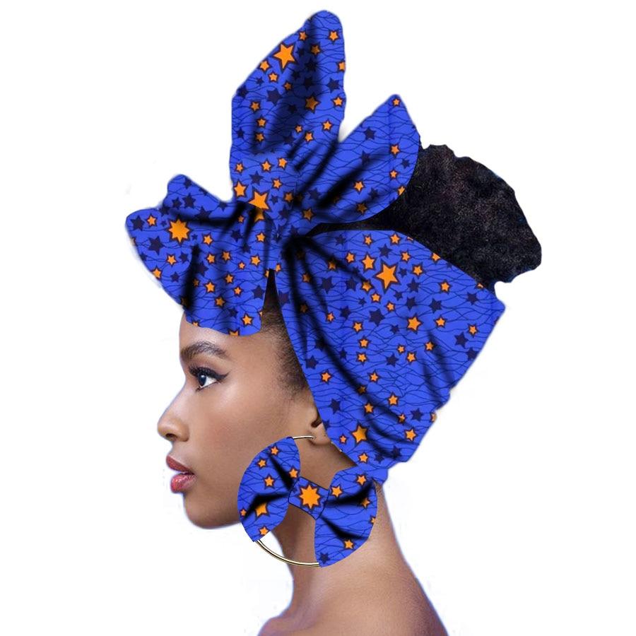 Pañuelo de angora popular africano tradicional para mujer, pañuelo para la cabeza, turbante, 100% de algodón, cera con pendientes a juego