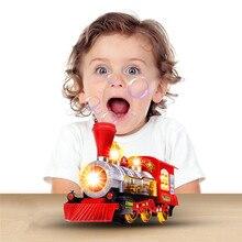 Train à vapeur Locomotive moteur voiture bulle soufflant bosse aller à piles jouets cadeau jouet drôle enfants livraison directe YE12.19