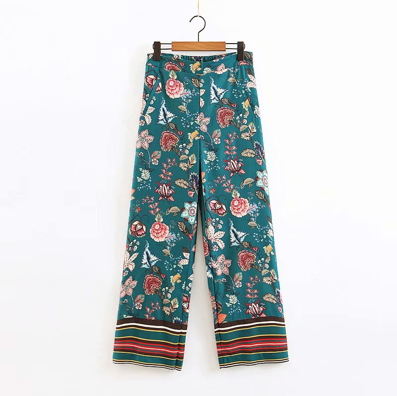 National style Women chic flower print wide leg pants female zipper long Trousers streetwear pocket pantalones mujer pants P384