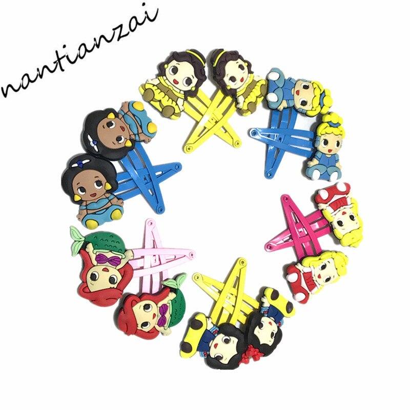 6 pares de horquillas con dibujos de Cenicienta, horquillas para el pelo princesa Bella niñas, accesorios para el cabello, regalo para fiesta de niños