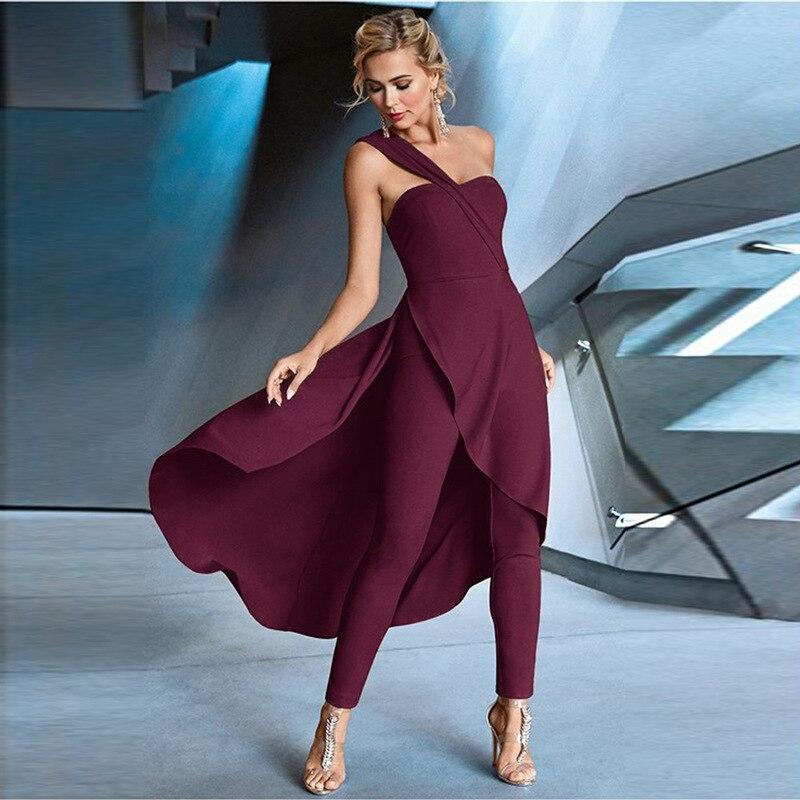 Women Irregular Elegante Wrap Off Shoulder Dress 2020 Summer High Waist Zipper Party Formal Overalls Falda Patchwork Mono Romper
