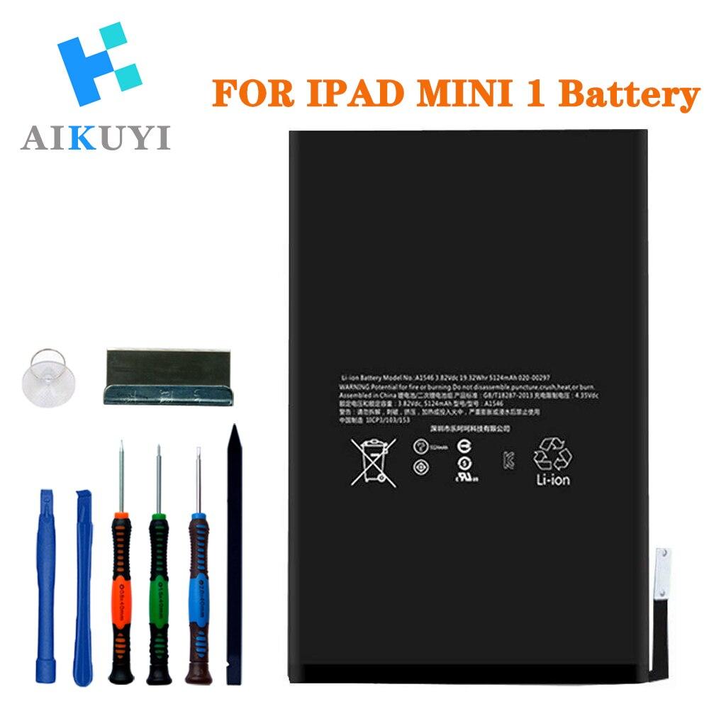 Batería de repuesto AIKUYI para iPad Mini 1 A1432 A1454 A1455 Kit completo de herramientas de reparación 4440mAh