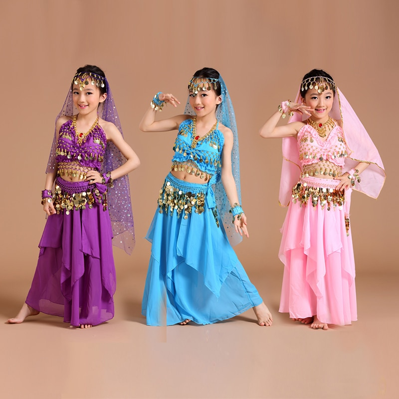 5pcs 1set Girls Belly Dance Costumes Kids Belly Dancing Girls Bollywood Indian Performance Dancewear Children Oriental Dance
