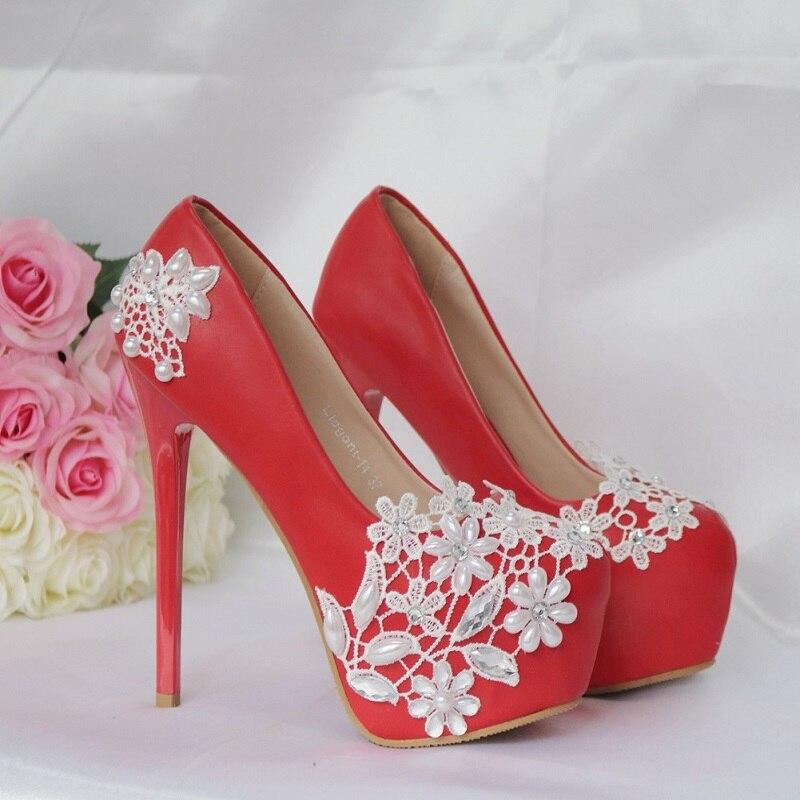 2019 spring white lace high heel wedding shoes female rhinestone pearl single shoes fashion large size stiletto platform shoes