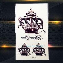 1PC Top qualité reine couronne temoraire tatouage autocollants imperméable PAQ-171 dame couronne noir couleur motif tatouages pâte papier