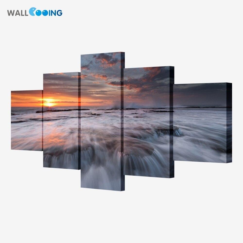 Kaligrafi boyama 5 adet Modüler resimler Yüksek kalite büyük Sanat HD Modern Ev Dekor şelale tuval boyama Göl gündoğumu
