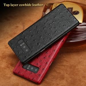 Luxury brand phone case ostrich grain half-wrapped phone case For Samsung Note 8 phone case full handmade custom processing