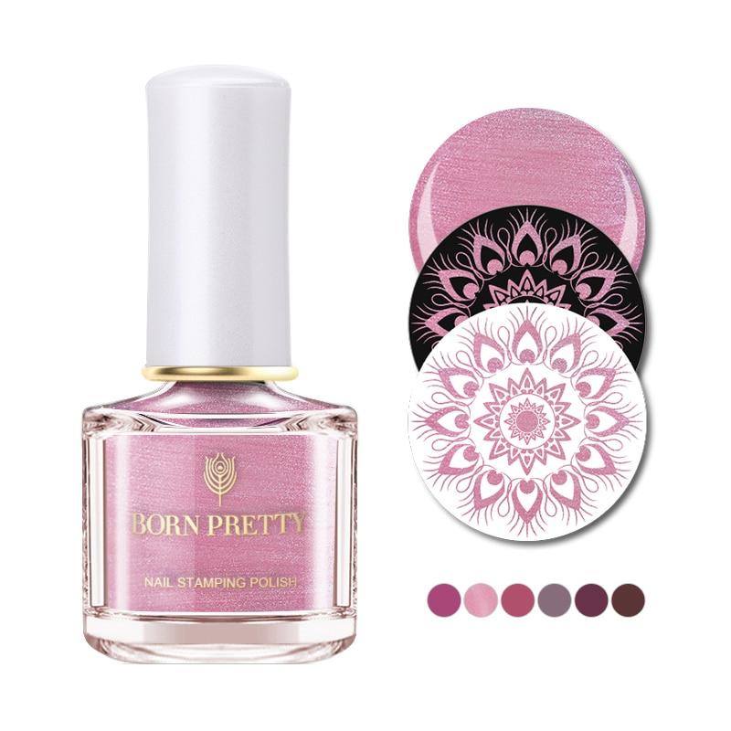 Nacido bastante marchita serie rosa del clavo barniz 6ml rosa púrpura sello clavo Placa de arte estampado polaco laca