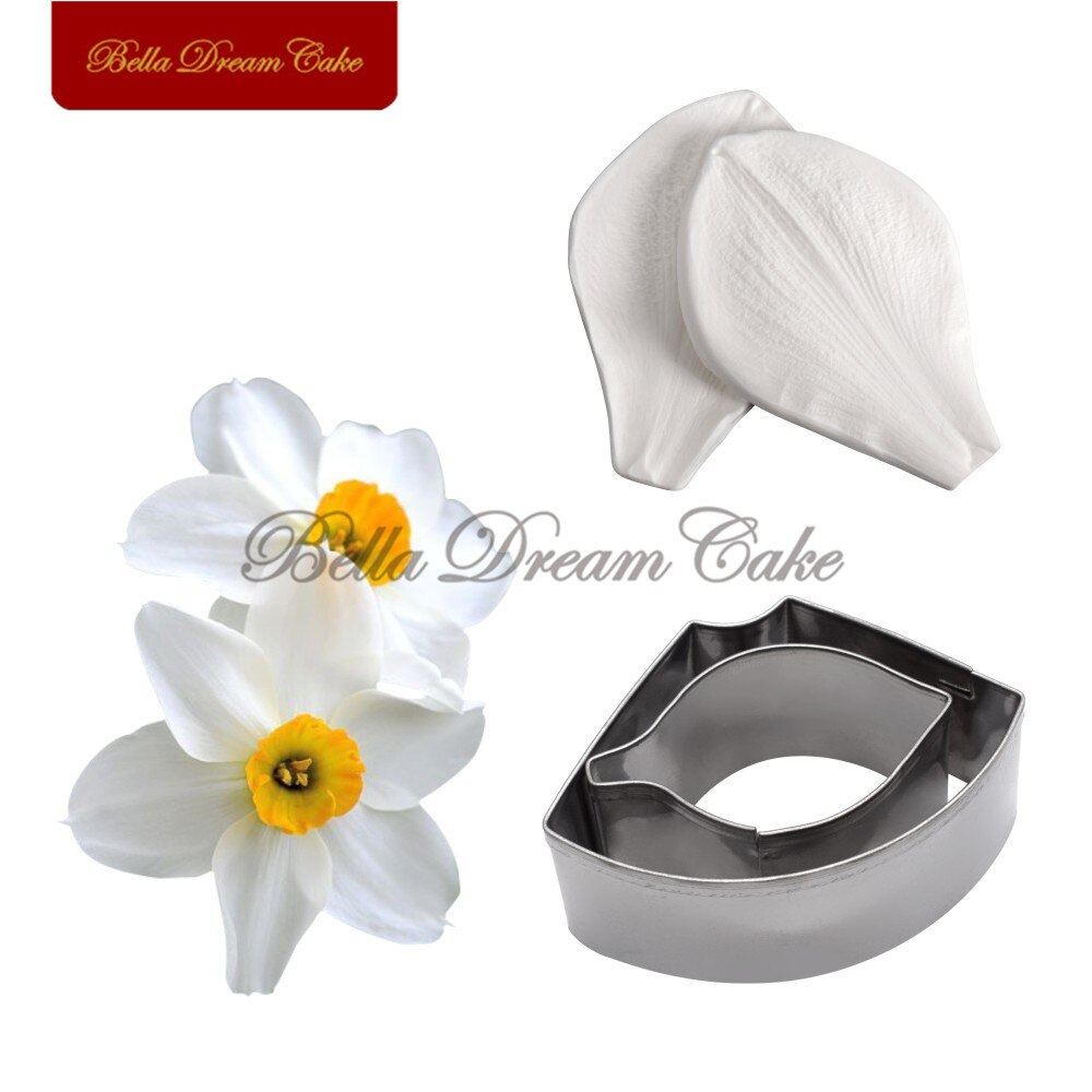 4pcs/set Daffodil Petal Veiner Silicone Molds Stainless Steel Cutter Fondant Mold DIY Handmade Cake Decorating Tool Bakeware