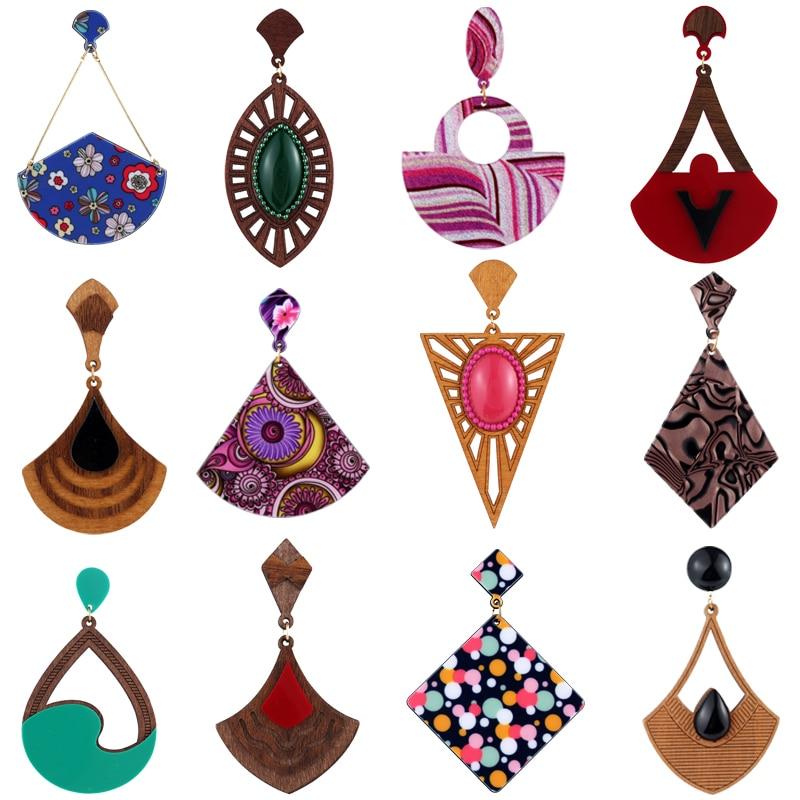 10 par/lote mezcla moda India África chica femenina grande madera acrílico pendientes para mujeres pendiente largo colgante Statment regalos de joyería