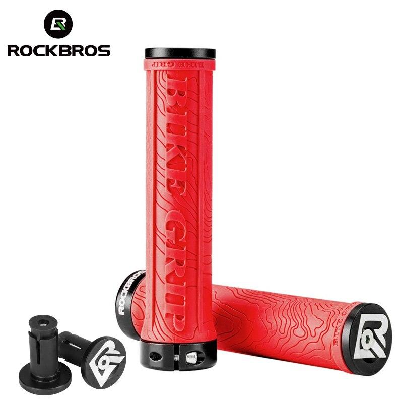 ROCKBROS TPR gumowe chwyty rowerowe kierownica rowerowa Mtb uchwyty miękkie 3D antypoślizgowe blokady na uchwyt części rowerowe akcesoria rowerowe