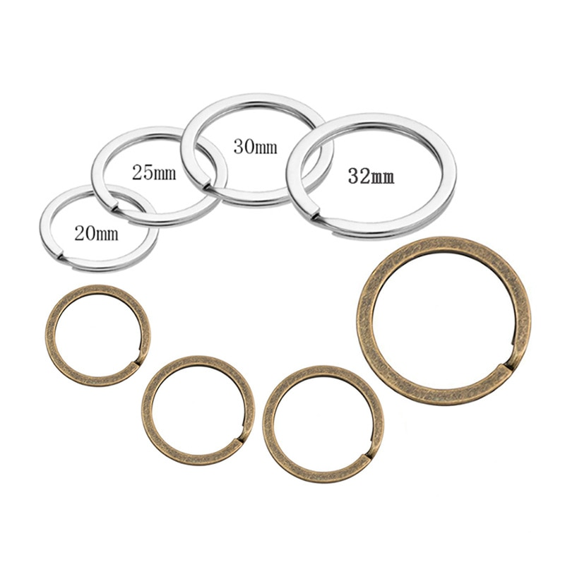 20 piezas 20mm/25mm/28mm/30mm/32mm llavero de Metal de bronce plateado anillos divididos para llavero O anillos accesorios de fabricación de bricolaje