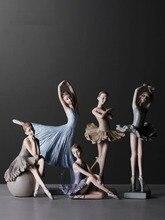 Venda quente bailarina menina dança resina estátua figura elegante artesanato criativo casa decoração de mesa dança menina ornamentos