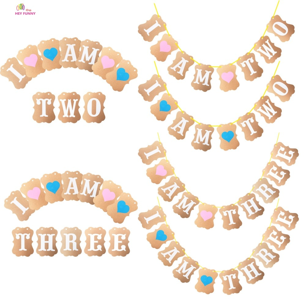 HEY FUNNY 2st/3st Birthday I Am two/Three Kraft Paper Banner Boy Girl Birthday Party Decoration  Garland Bunting Supplies