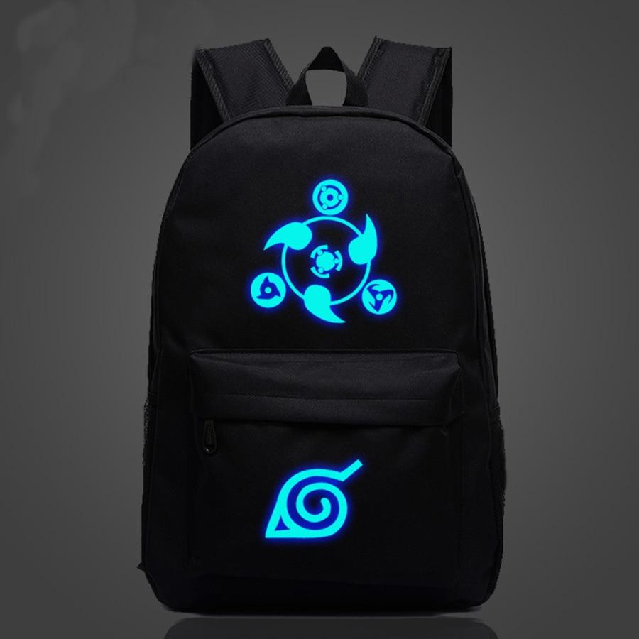 Mochila de lona informal de dibujos animados para niños con cremallera luminosa para hombres y mujeres mochila escolar con logotipo de Anime Naruto