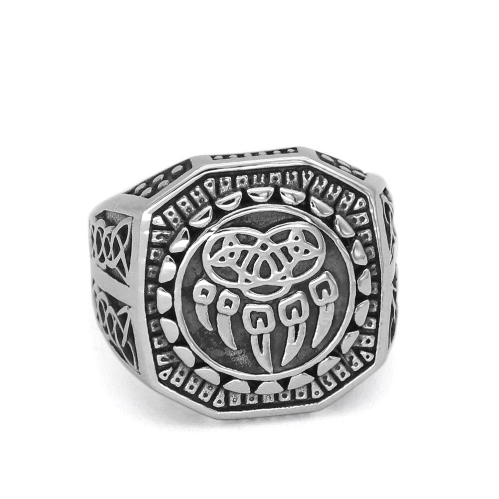 Hombres nórdico vikingo Lobo garra vantage anillo joyería acero inoxidable con valknut bolsa de regalo