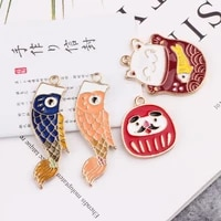 10pcs fashion lucky cats carp pendant cat fish enamel charms fit diy earrings accessories charms jewelry making finding fx068