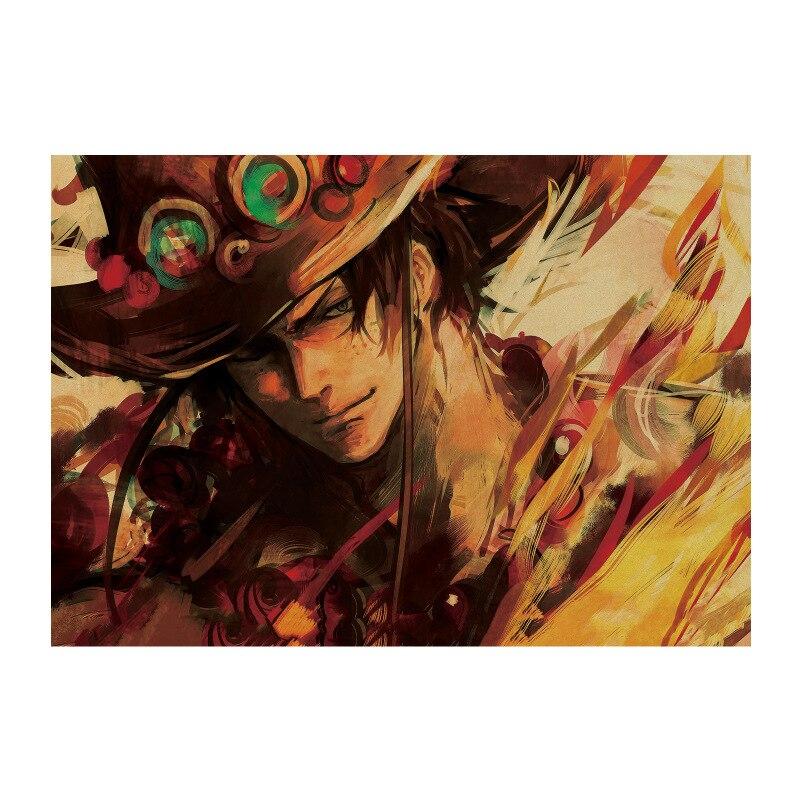 Una pieza 1469/clásico Ace/clásico cómic de dibujos animados japoneses/papel kraft/cartel de barra/póster Retro /pintura decorativa 51x35,5 cm