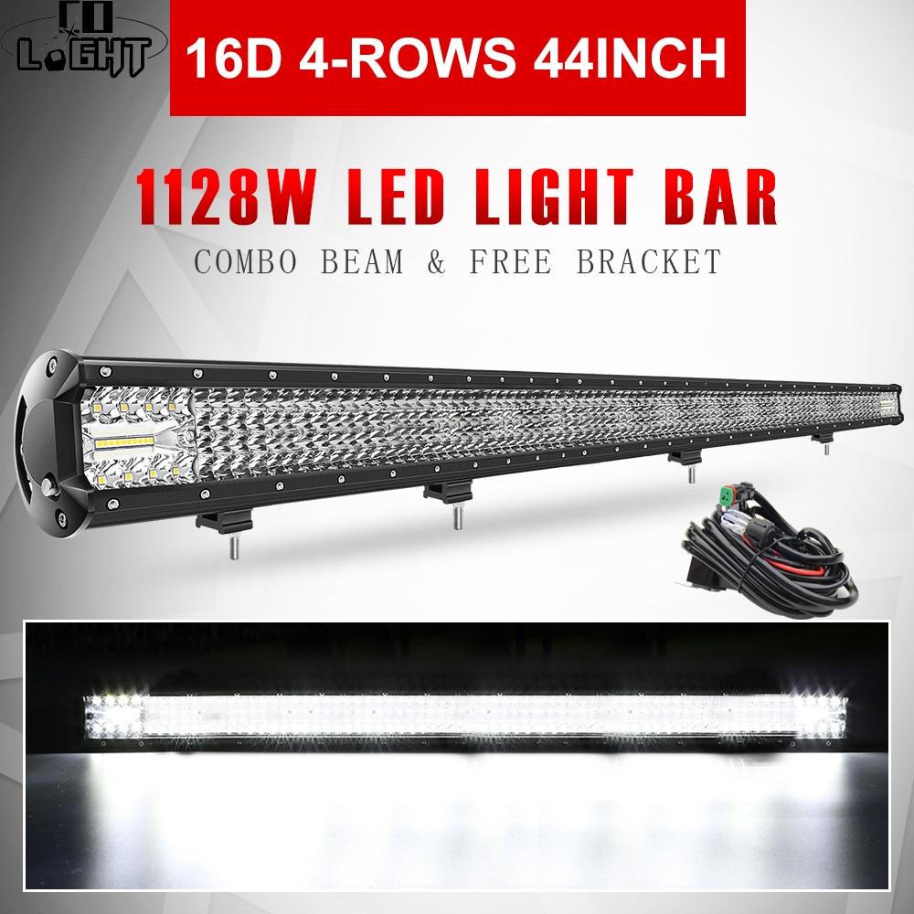 CO LIGHT-شريط إضاءة LED 16D ، 44 بوصة ، 1128 واط ، شعاع كومبو ، 4 صفوف من مصابيح العمل ، للسيارة ، القيادة ، 4x4 ، الطرق الوعرة ، 4WD ، 12V 24V ، لشاحنة ATV ، SUV