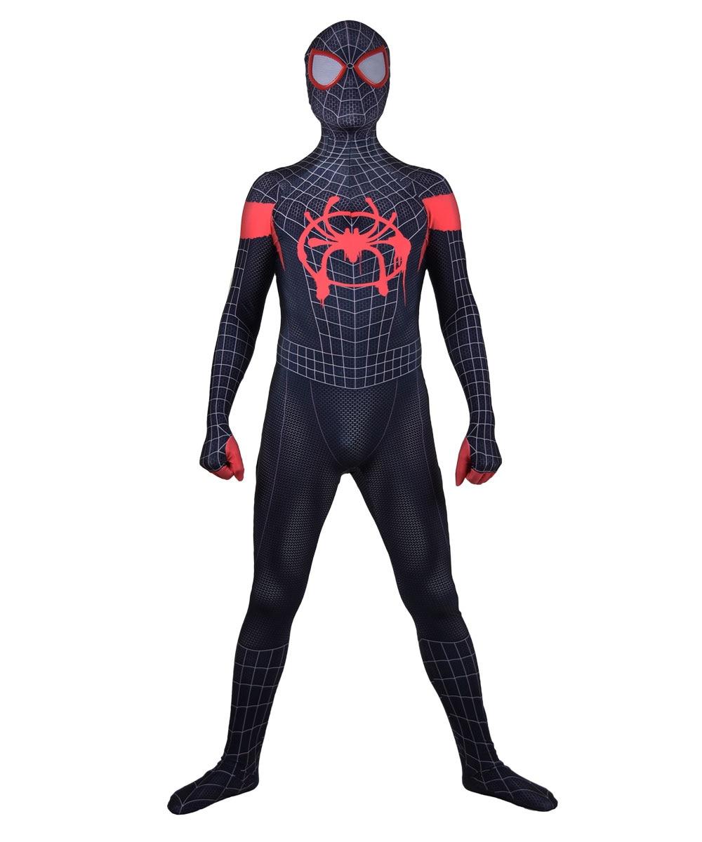 3D imprimir en el verso de la araña Miles Morales lycra de superhéroe piel Zentai body Halloween Cosplay fiesta traje de entrega gratis